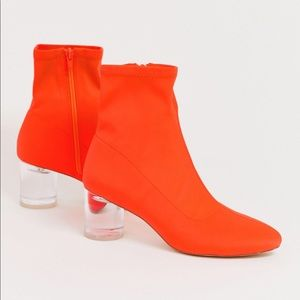 ASOS London Rebel Orange Neoprene Sock Boots 6